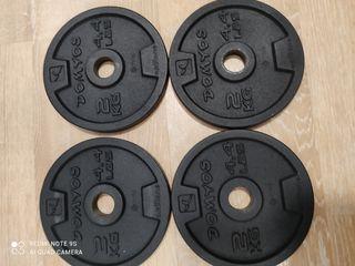 Discos x 4u de pesas sueltos 2k cada uno