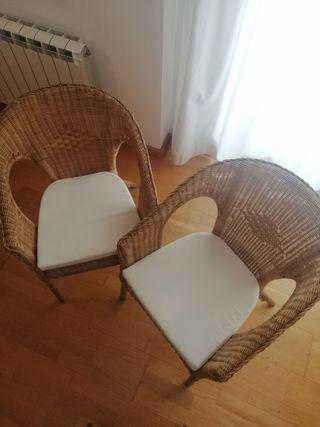 2 sillas mimbre Ikea