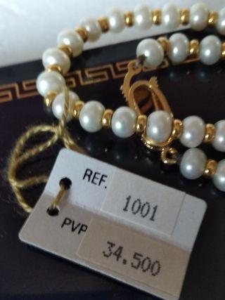 Precioso collar gargantilla de oro y perlas cultiv
