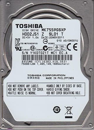 "Disco Duro Toshiba MK7559GSXP 2.5\"", 750 GB, 5400"