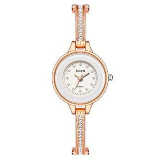 Reloj Femenino Fino Con Cristales color Oro Rosa
