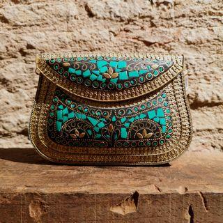 Bolso Clutch Dorado y Verde