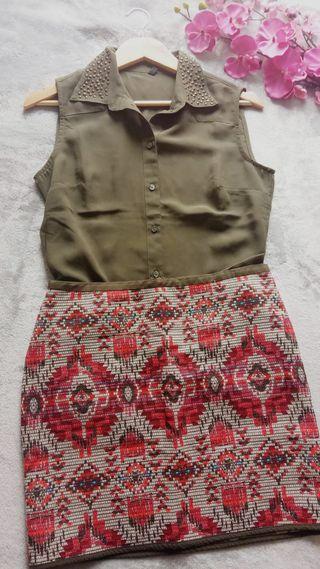 LOTE A ESTRENAR Camisa benetton + Falda Trucco