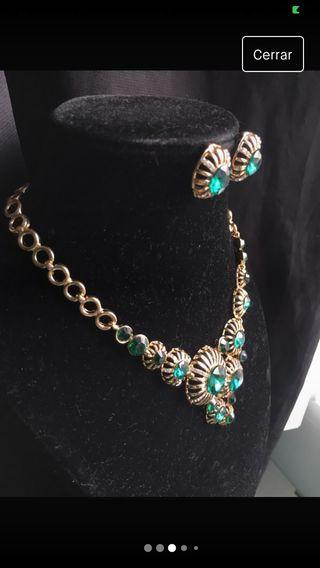 Conjunto joyas verde esmeralda
