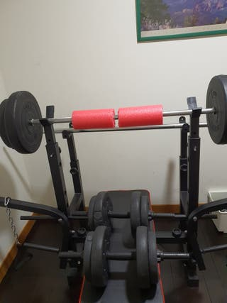 Kit de pesas 60 kg. Barra, mancuernas y discos.GYM