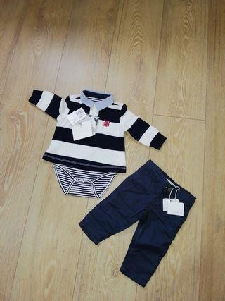 Conjunto polo y pantalón de bebé talla 3-6