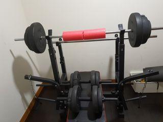 kit de pesas 60 kilos. Mancuernas, barra y discos