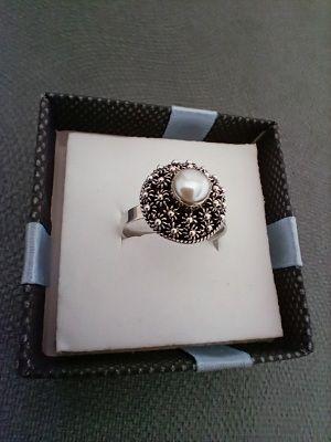 Anillo ajustable plata de ley con perla natural