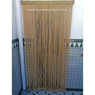 Cortina de cuerda de sisal natural y listón en esp