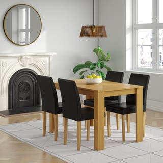 Oak Wooden Dining Table Set & 4 Leather Chairs Br