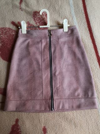 Falda de fiesta rosa animal print