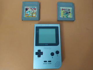 Game boy pocket gris + juegos