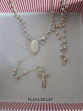 rosario de plata de ley