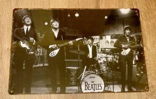 Cartel decoración de metal. Beatles en concierto