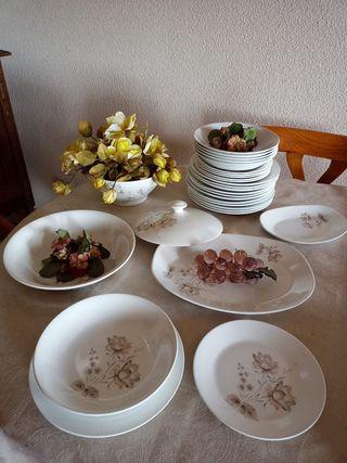 Vajilla porcelana platos, fuentes y sopera