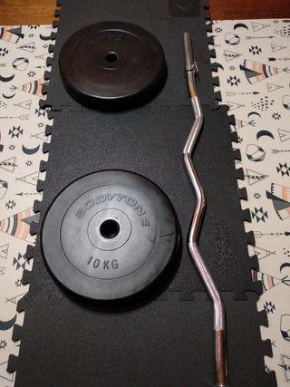 Barra Z y 2 discos de 10 kilos bodytone