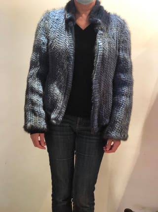 Chaqueta de visón tricotado en azul