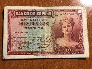 Billetes 10 Peseras Republica Española