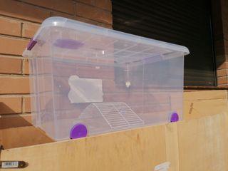 jaula de hamster con ruedas, respiradero, bebedero