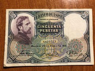 Billetes de 50 Pesetas Republica Española