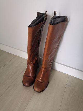 botas de piel marrones talla 38