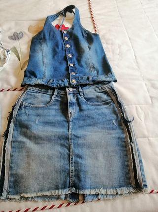 vonjunto vaquero, falda y corpiño