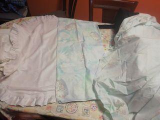 cuna bebé sábana bajera, funda almohada, cambiador