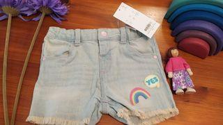 Pantalón corto niña vaquero nuevo 36 meses 3 años