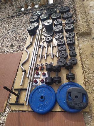 discos de pesas y barras