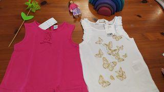 2 camisetas niña verano nuevas 3 años, rosa y blan