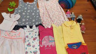 Lote 2 años niña vestidos y camisetas 9 piezas