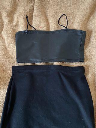 Conjunto top y falda de fiesta