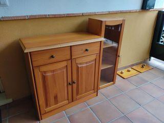 conjunto muebles, aparador, vitrina, estanterías