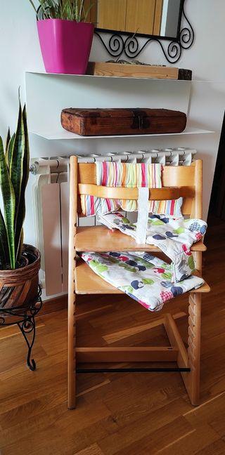 Silla trona Tripp Trapp Stokke con textiles