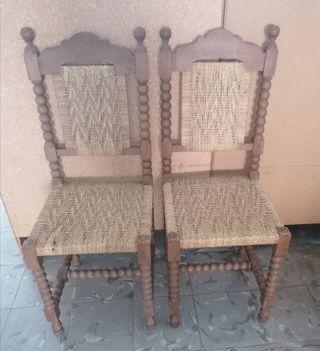 2 sillas españolas asiento cuerda