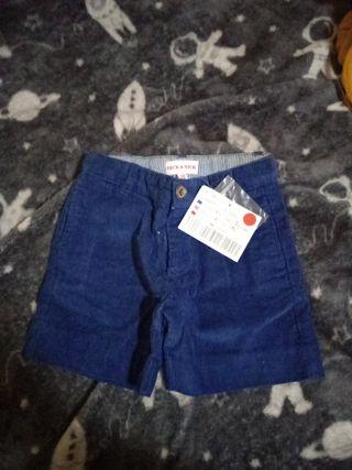 pantalón corto pana azul neck and neck