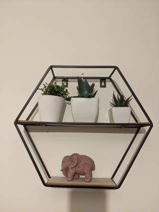 Small wood and black metal shelf