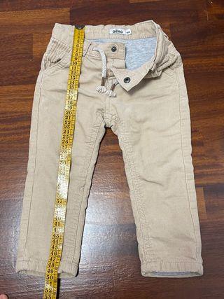 Pantalón pana beige con forro algodón 18 meses