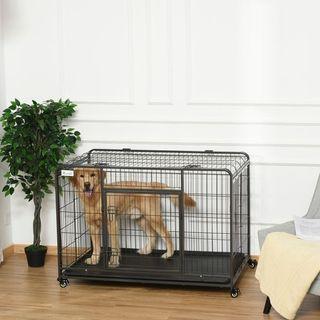 Jaula de Metal para Perros Plegable con Ruedas y F
