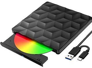 Grabadora DVD CD Externa USB 3.0 y Tipo C, Lector