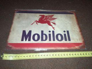 Cartel metálico publicidad Mobiloil