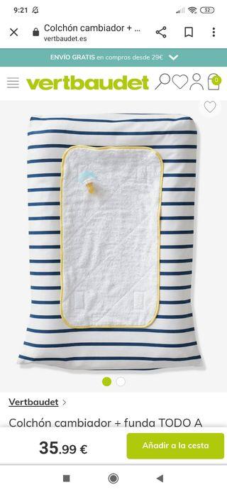 Colchón cambiador bebé Vertbaudet + Funda +Toalla