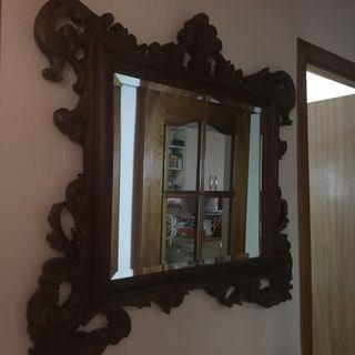 Espejo clásico madera tallada