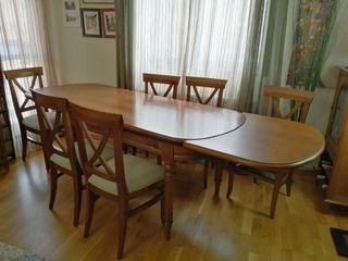 Mesa de comedor madera maciza y seis sillas
