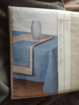 Mantel lino y polyester. servilletas 12