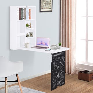 Mesa de pared con pizarra y estantes Escritorio