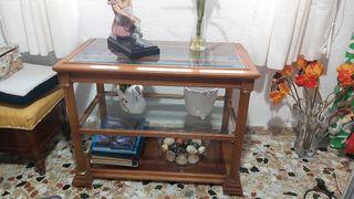 Mesa TV de madera y cristal