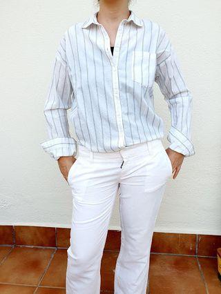 Mango/ Camisa blanca lineas negra T M Algodón 100%