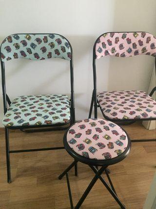 Pack 2 sillas + 1 taburete plegables