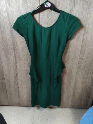 Vestido verde Manga corta con volantes